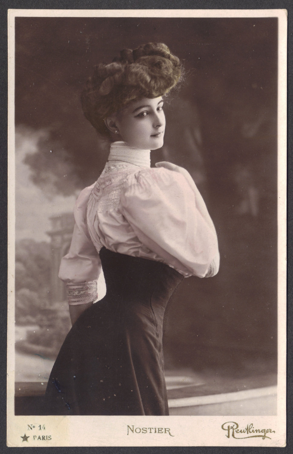 File:French Actress Mlle. Nostier, in Swan-Bill Corset and ...