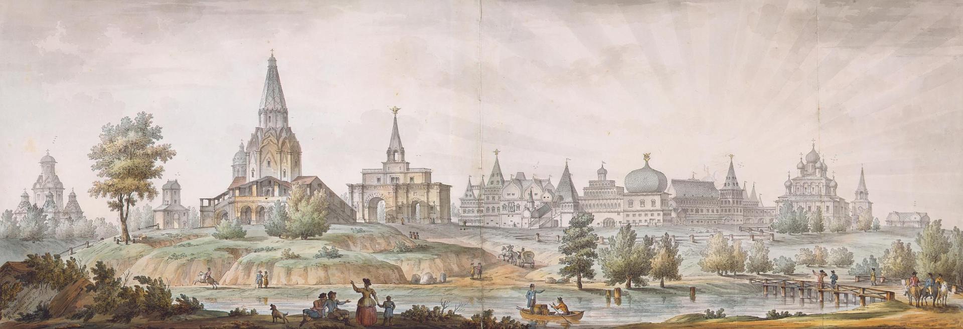 Панорама села Коломенского в XVIII веке. Работа Дмитрия Сухова по рисунку Джакомо Кваренги, 1930 год