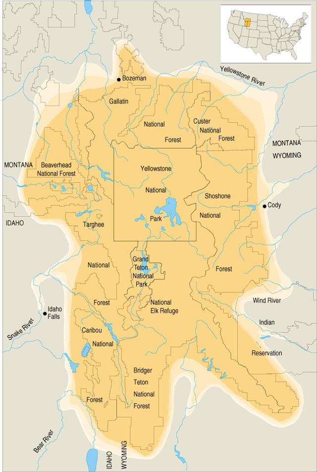 Yellowstone Karte.Größeres Yellowstone ökosystem Wikipedia