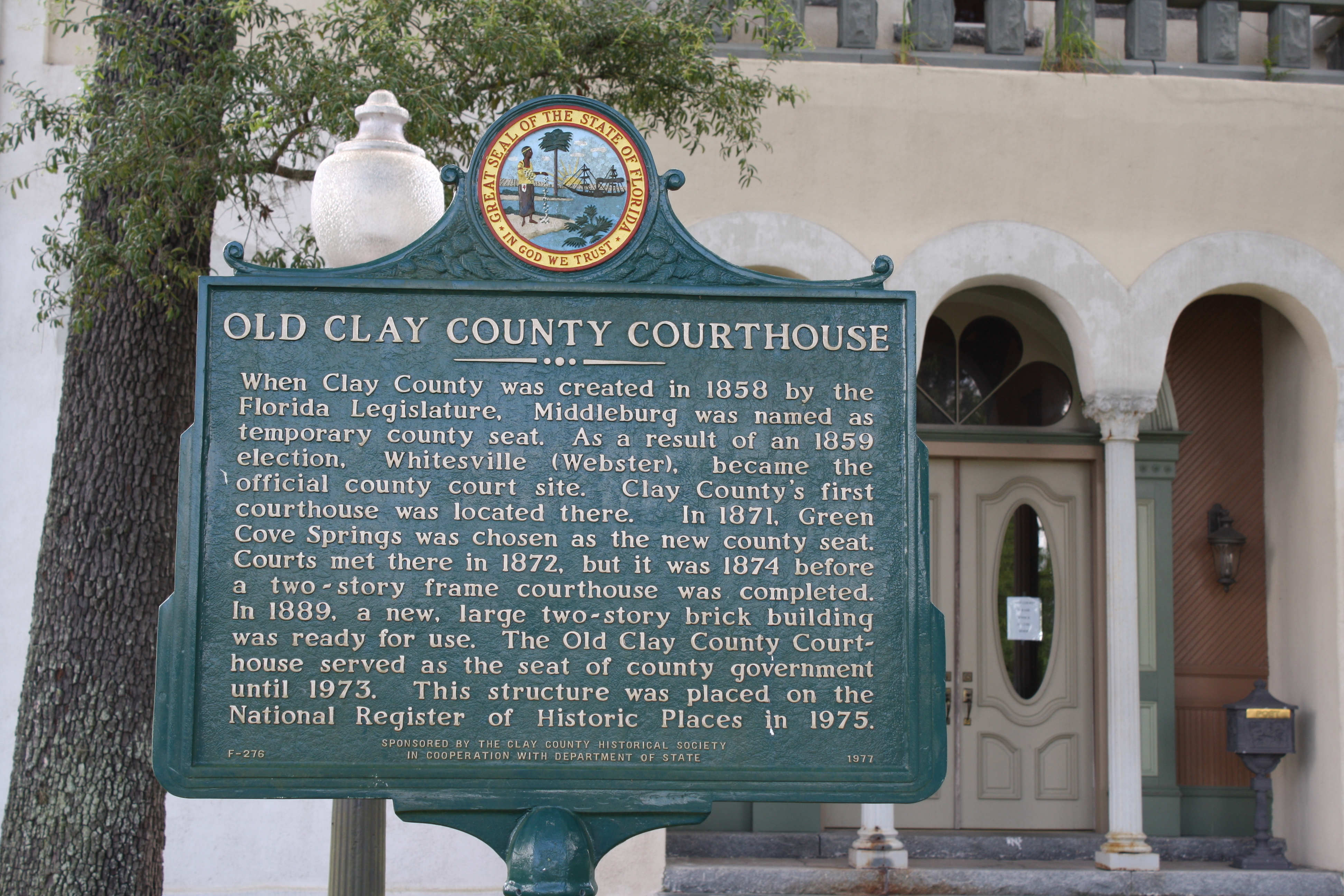 File green cove springs fl courthouse one clay county plaque