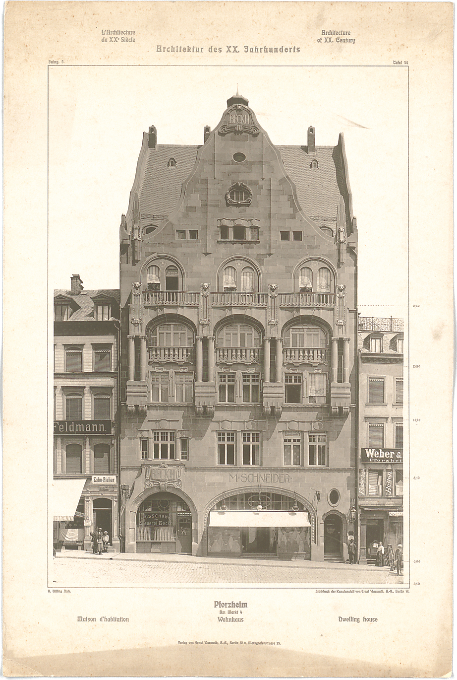 FileHaus Beckh Am Marktplatz 4 In Pforzheim Entwurf Hermann Billing 1902