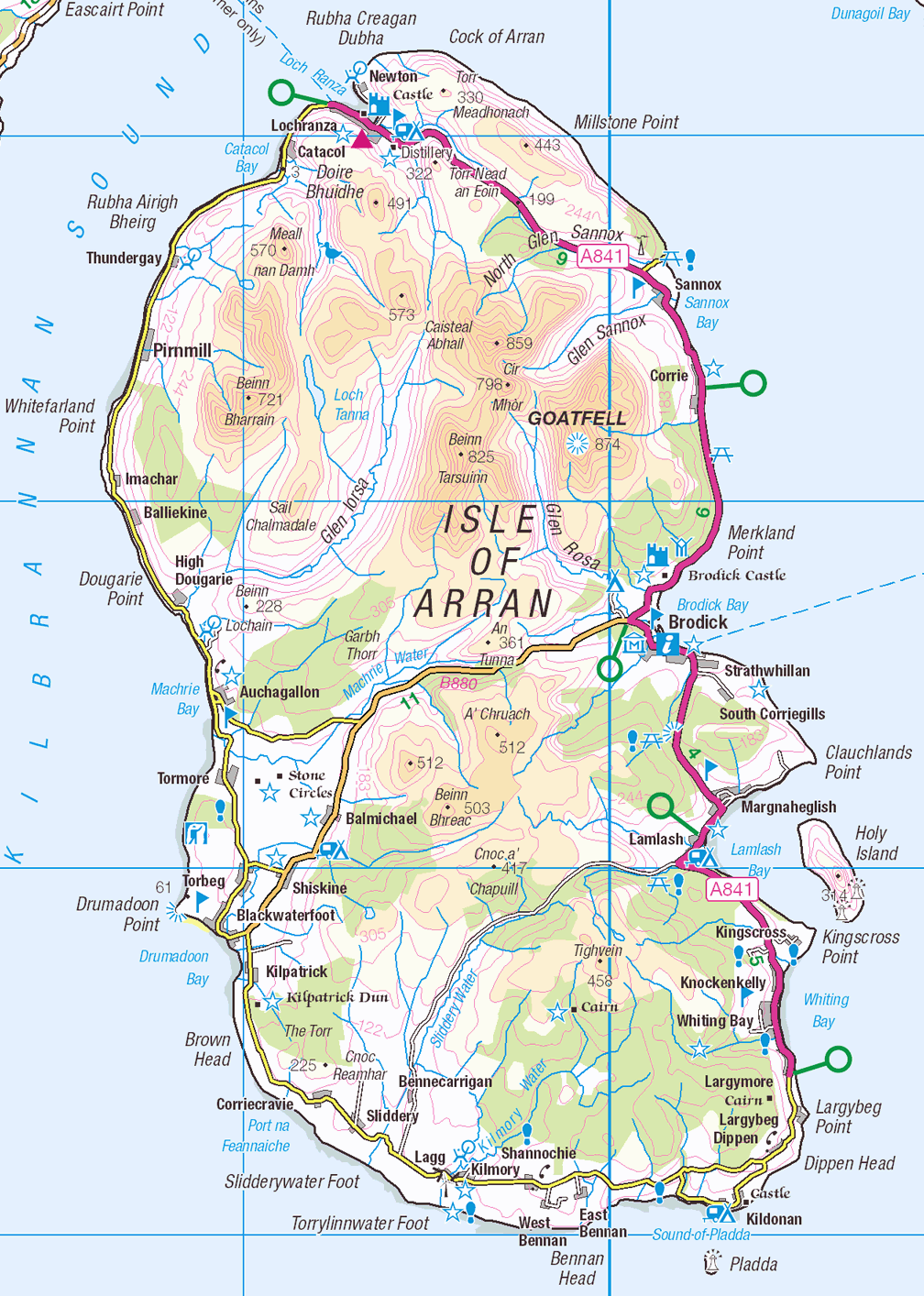 Carte de l'Isle d'Arran en Ecosse - Contains Ordnance Survey data © Crown copyright and database right