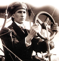 Aviation pioneer John A.D. McCurdy at the controls of the AEA Silver Dart.