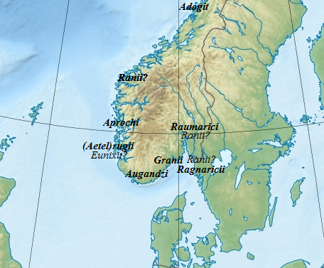 Locations of the Germanic tribes described by Jordanes in Norway Jordanes, Norway tribes.png
