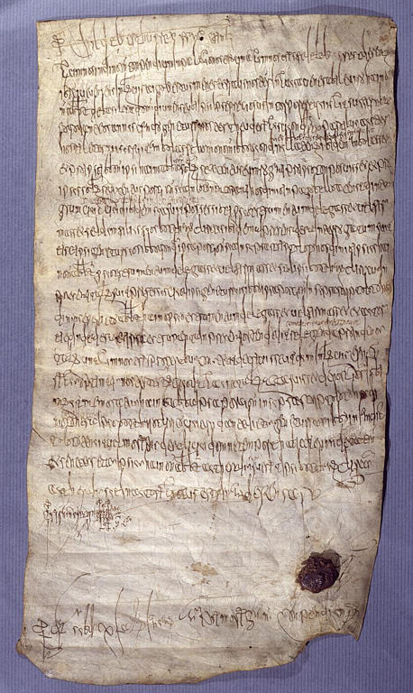 Record of a judgement by Childebert III Jugement de Childebert III accordant a l'abbaye de Saint-Denis la terre de Hodenc-l'Eveque dans l'Oise.jpg