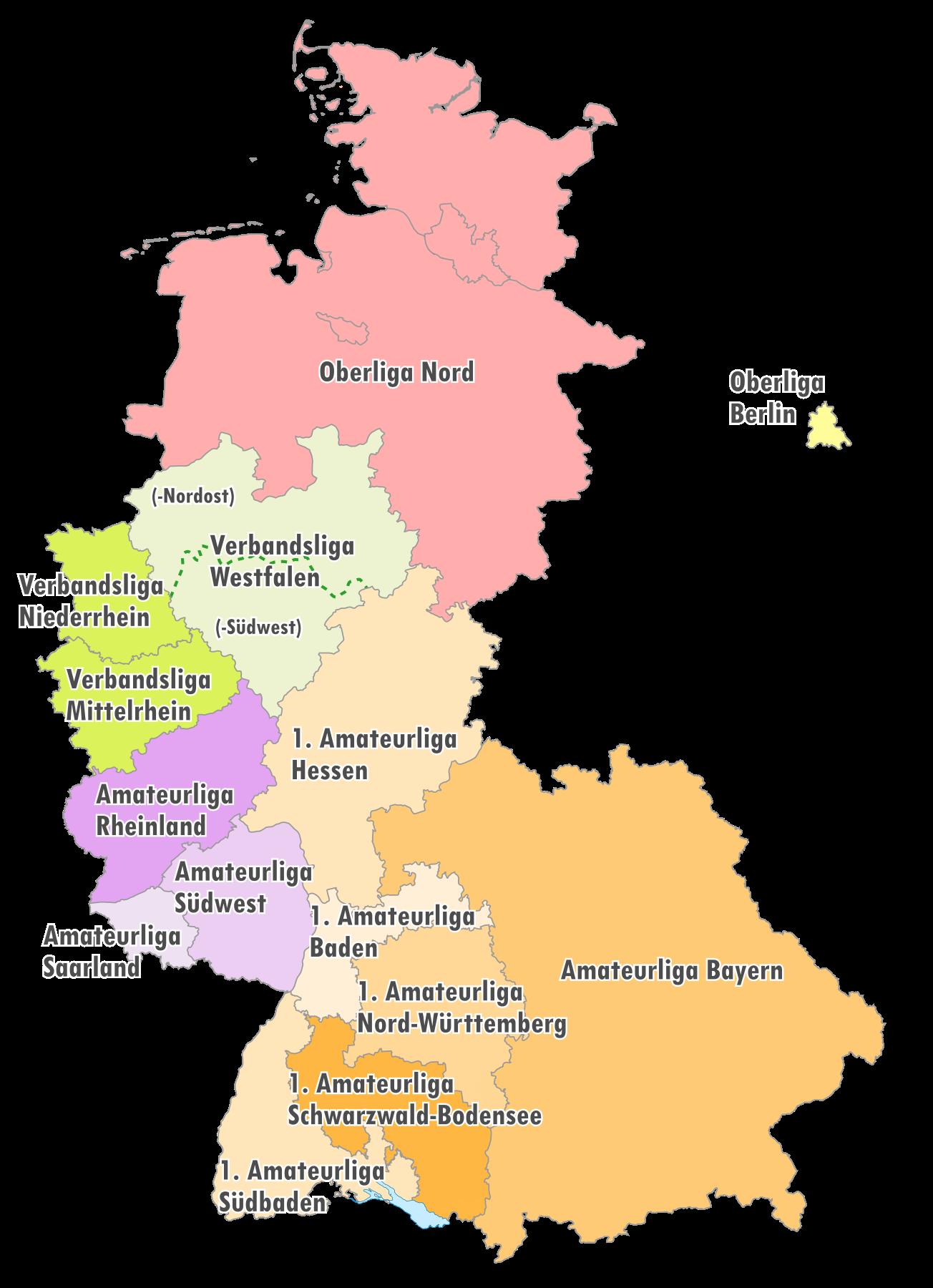 Geografische Einteilung der Oberligen zur Saison 1975/76