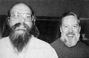 Turing Award laureate Ken Thompson (left), BS 1965, MS 1966, and fellow laureate and colleague Dennis Ritchie (right), created Unix together Ken Thompson and Dennis Ritchie.jpg