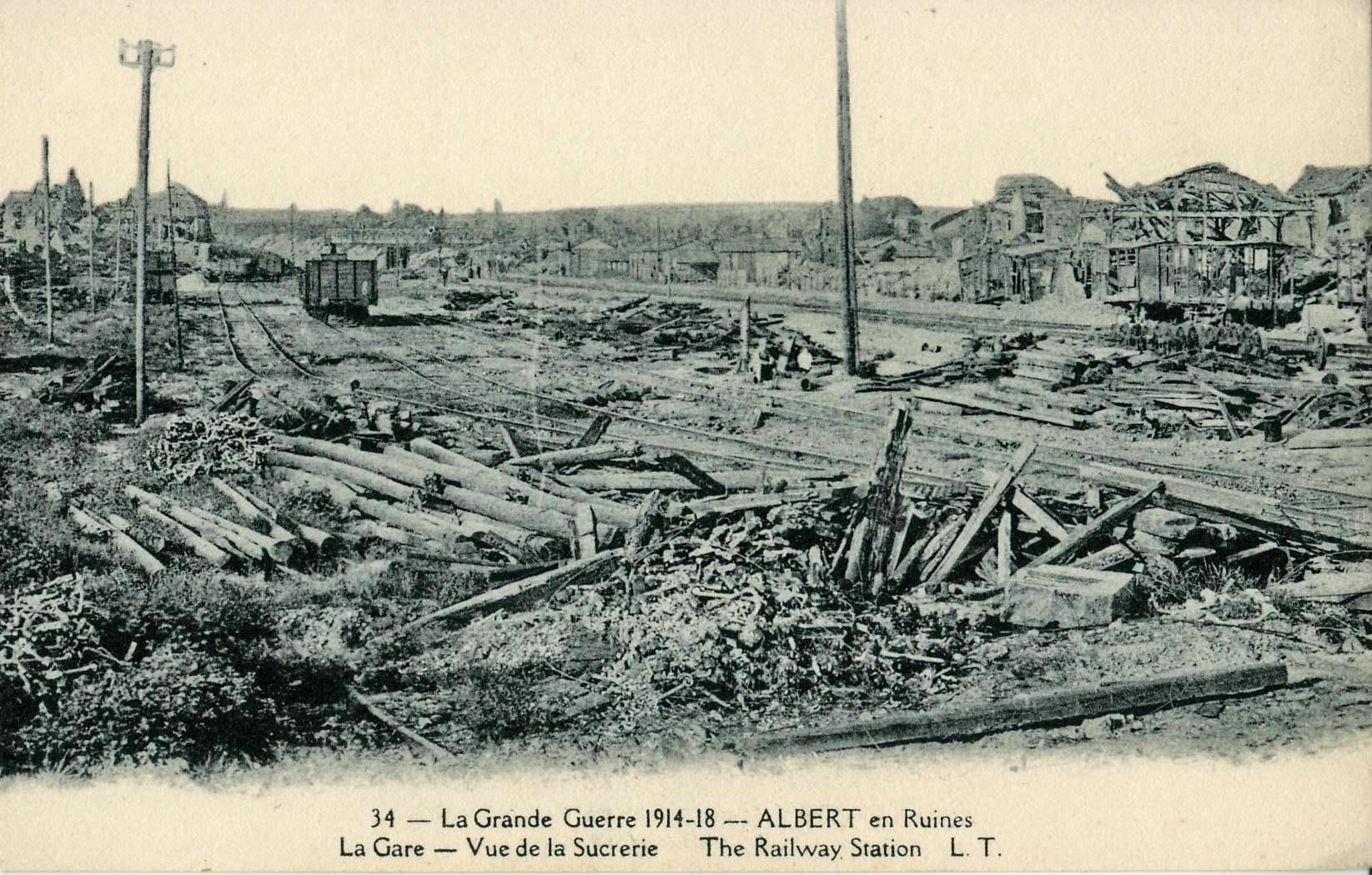 La grande guerre 1914-1918 - albert en ruines - la gare - vue de la
