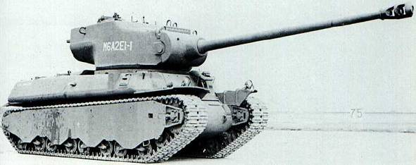 The M6A2E1, number one (15 built), testing the 105 mm (4.13 in) gun and new turret.