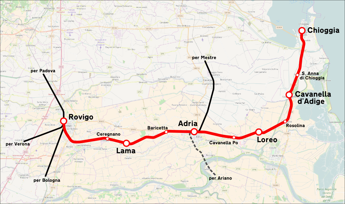 Cartina Dell Italia Rovigo.Ferrovia Rovigo Chioggia Wikipedia