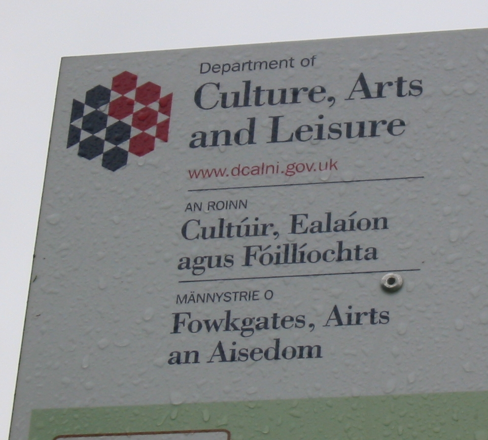 Multilingual sign in English, Irish, and Ulster Scots