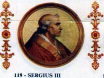English: Portrait of Pope Sergius III in the B...