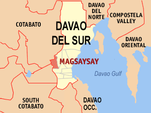 Map of Davao del Sur showing the location of Magsaysay
