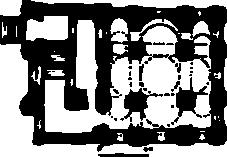 План надвратной церкви Киево-Печерской Лавры. 1108 год. Четырёхстолпный храм с примыкающей к нему лестницей.