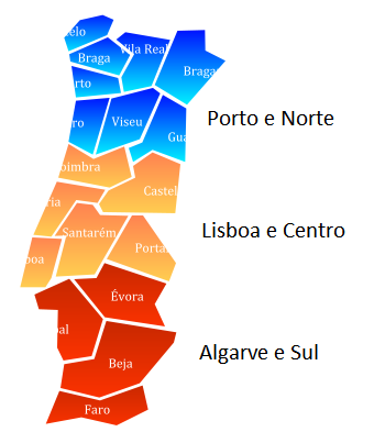 Região Norte Mapa De Portugal Norte.Mapa De Portugal Dividido Por Zona Norte Centro E Sul
