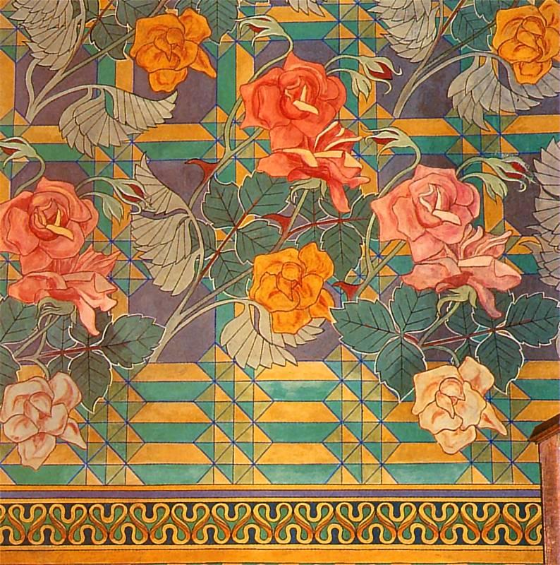 Motifs floraux de Wyspianski : Roses et motifs graphiques.