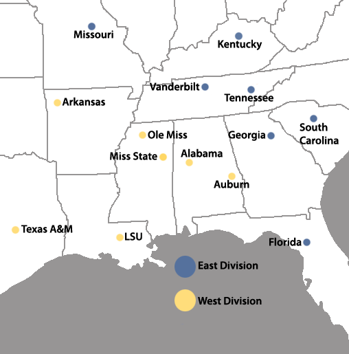 Locations of the SEC full-member institutions SECLocations3.png