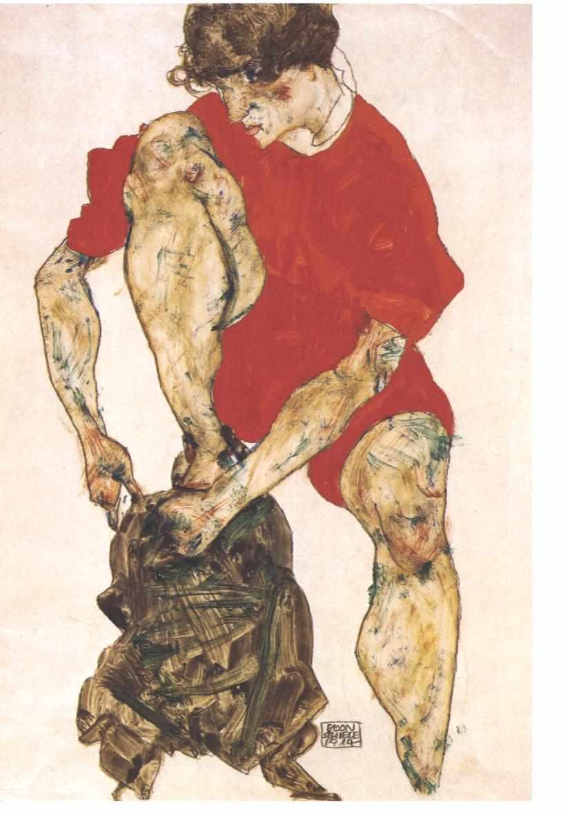 Egon Schiele Weilbliches Modell mit feuerroter Jacke und Hose 1914 - Quelle: Wikicommons