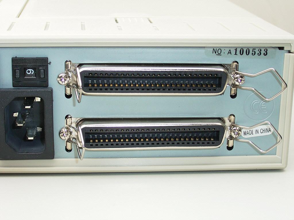 Two SCSI connectors.