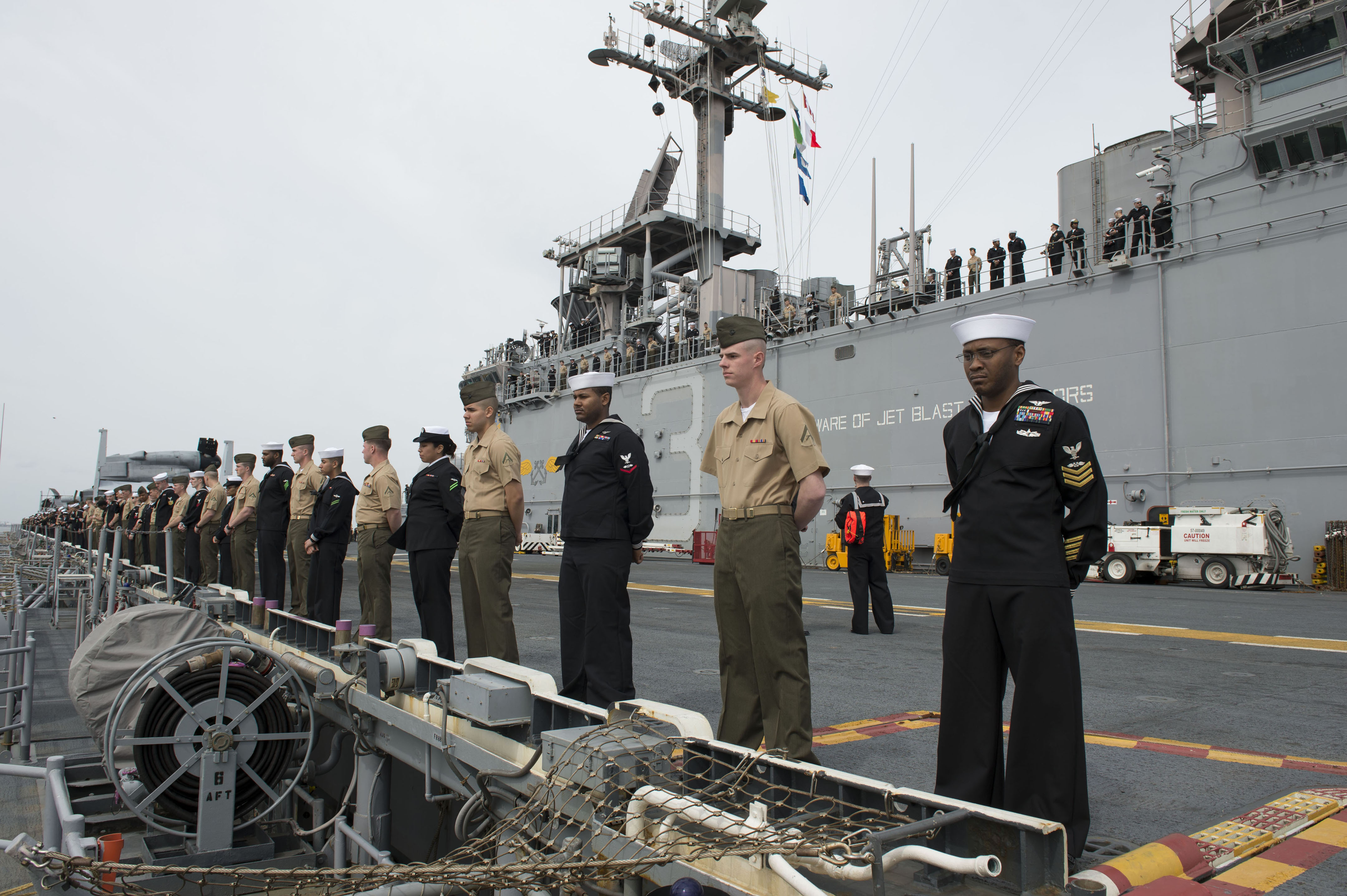 U.S._Sailors_and_Marines_man_the_rails_of_the_amphibious_assault_ship_USS_Kearsarge_%28LHD_3%29_as_the_ship_departs_Norfolk%2C_Va.%2C_March_11%2C_2013_130311-N-XY604-016.jpg