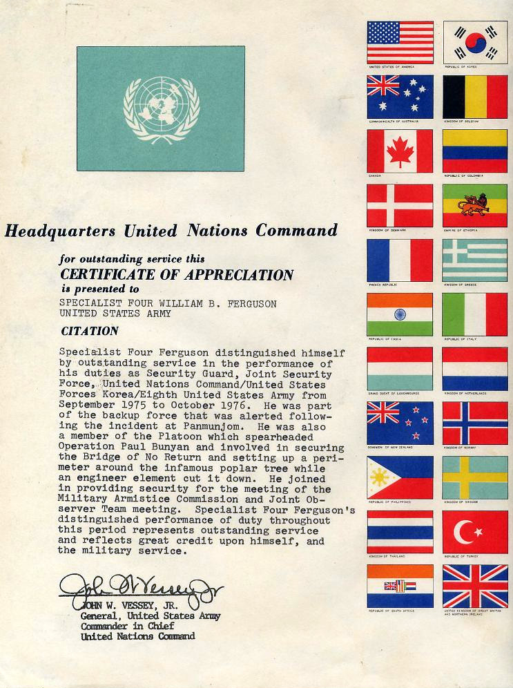 File:UNC Certificate Of Appreciation  Army Certificate Of Appreciation