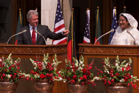 PM Sheikh Hasina with US President Bill Clinton at the Prime Minister's Office in Dhaka, 2000. US President Clinton and Prime Minister Sheikh Hasina make a joint statement, Prime Minister's office, Bangladesh, March 20, 2000.jpg