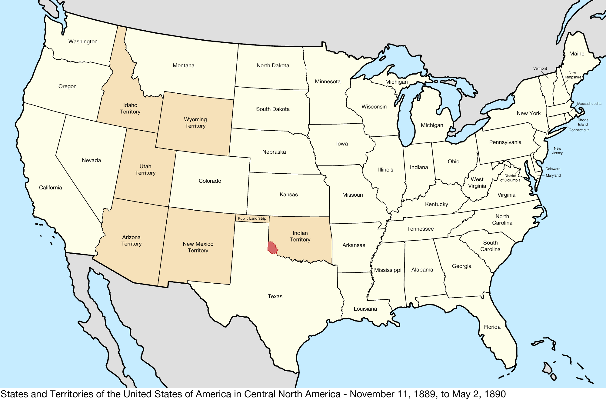 Map Of Us 1889 File:United States Central map 1889 11 11 to 1890 05 02.png