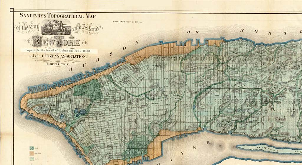 topographical map of new york city File Viele Map 1865 Topographical New York City Jpg Wikimedia Commons
