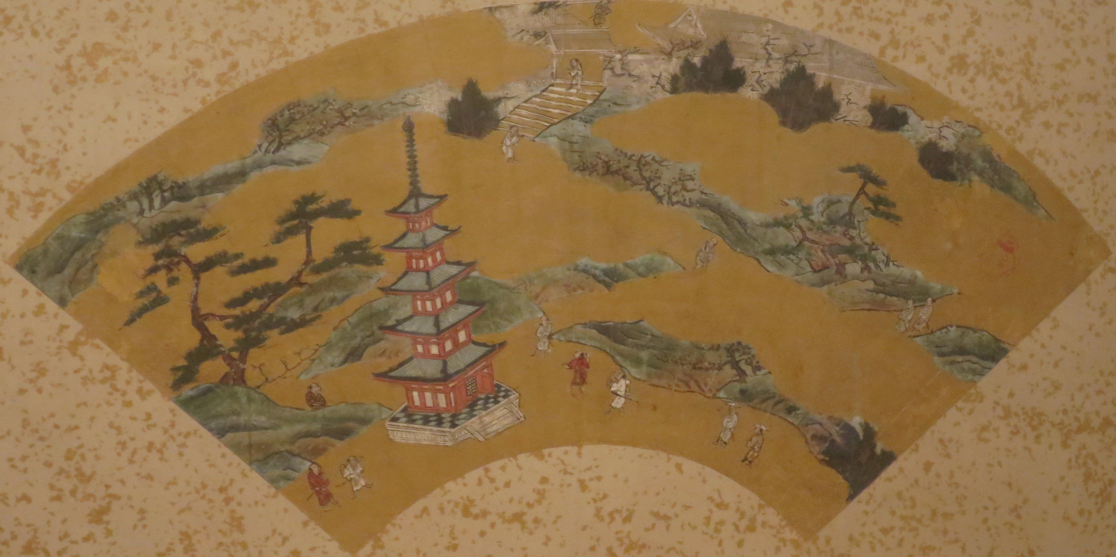 Ylellinen viuhka 1500-luvun lopulta: tussia, väriä ja kultapaperia.
