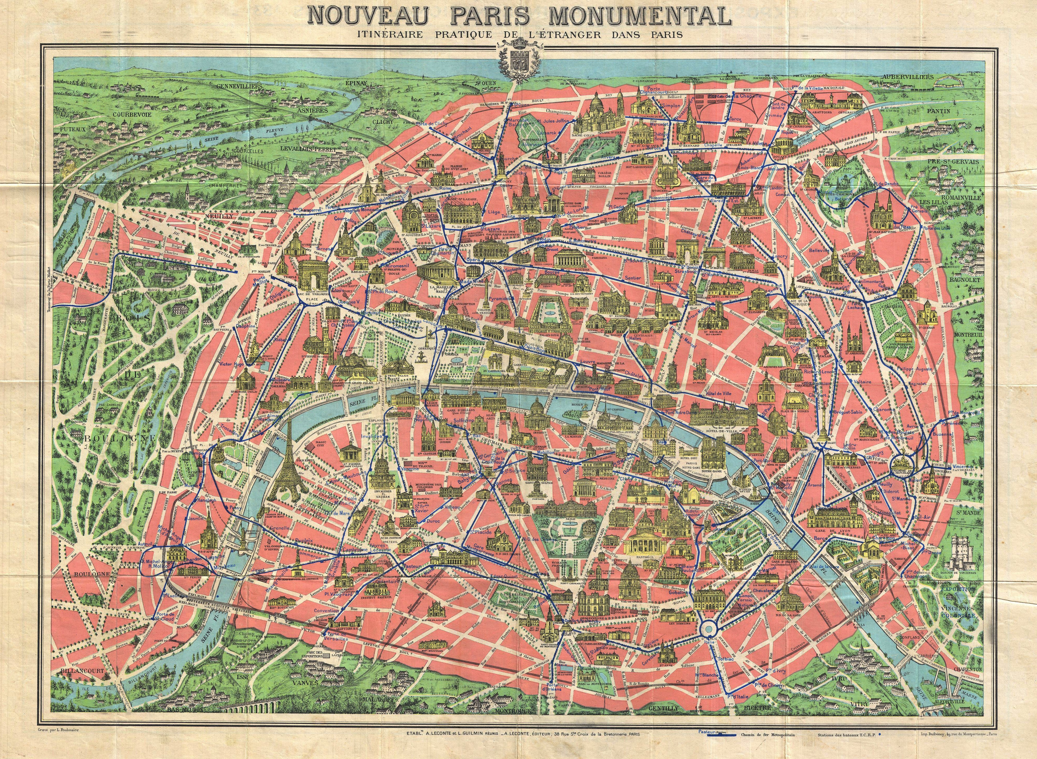 Fabuleux File:1931 Leconte Map of Paris w-Monuments and Map of the  FV09