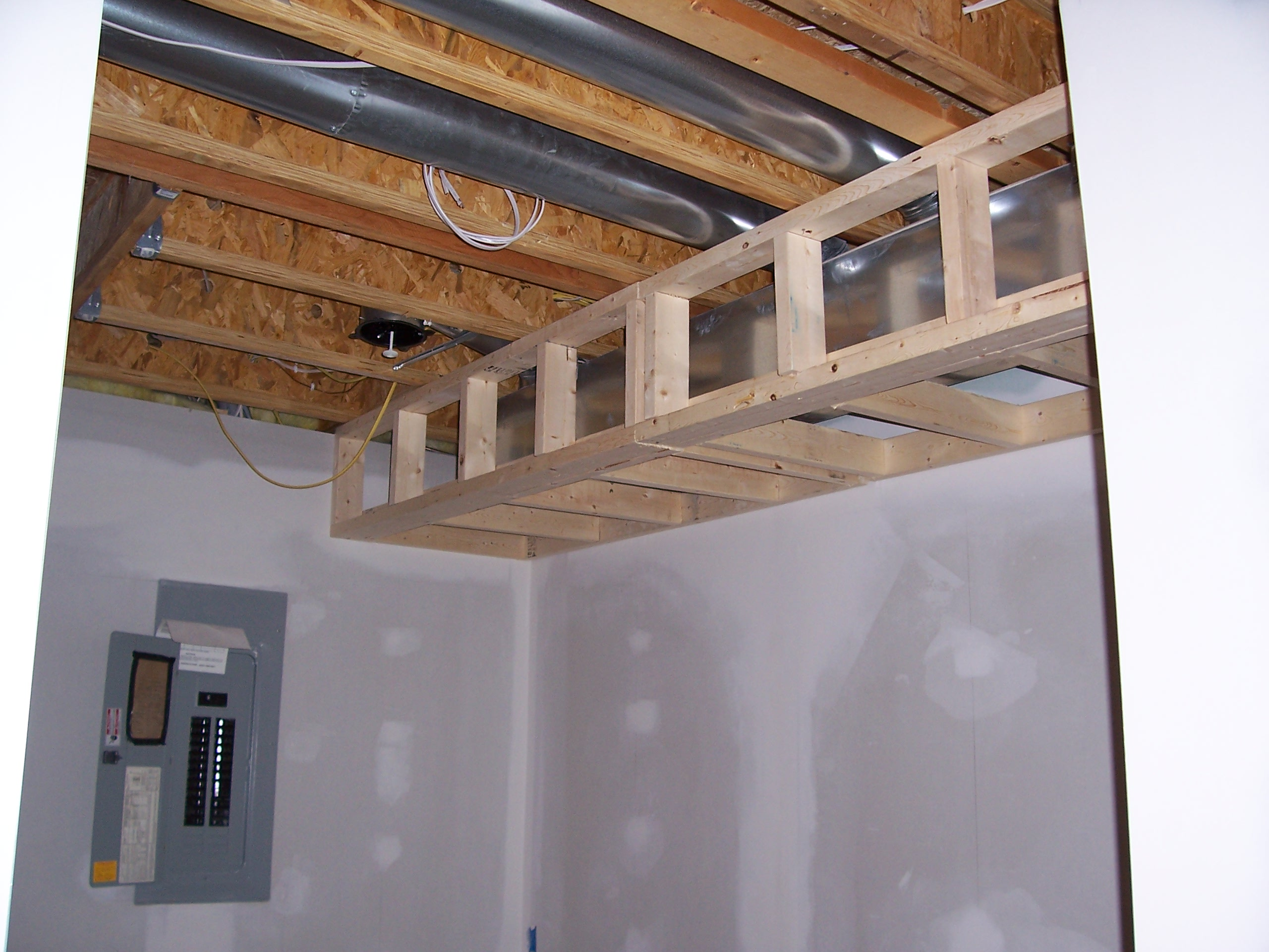 file air duct and fuse box in a construction. Black Bedroom Furniture Sets. Home Design Ideas