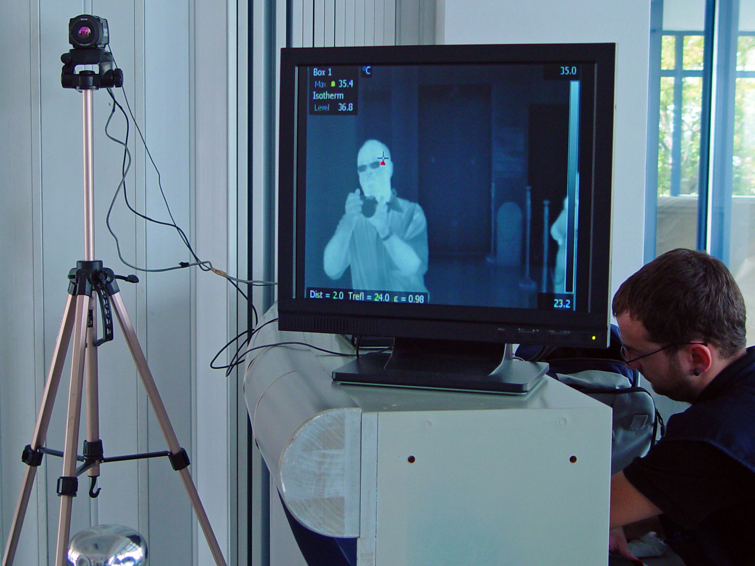Thermal scanner at an airport
