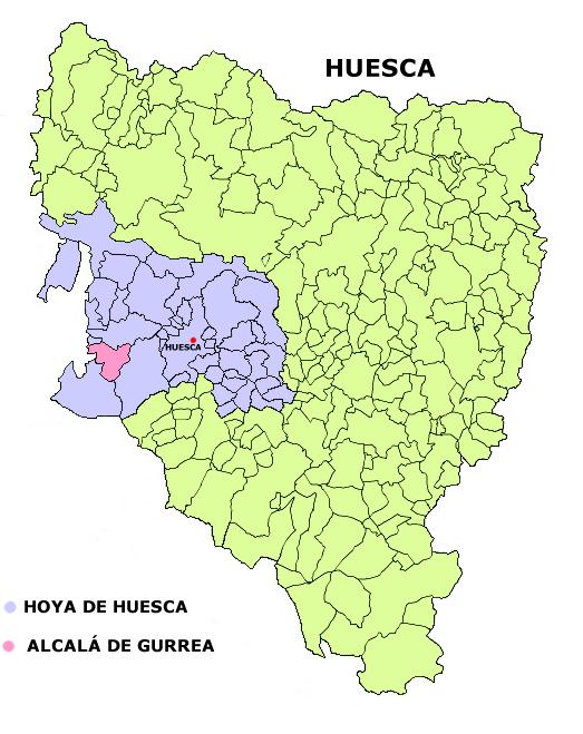 Mapa Huesca - Alcala de Gurrea