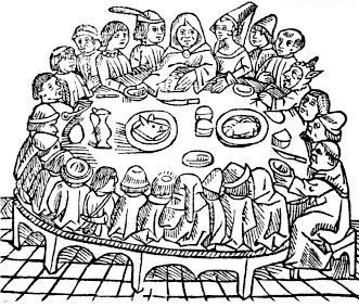An old medieval drawing showing many people sitting around a large table