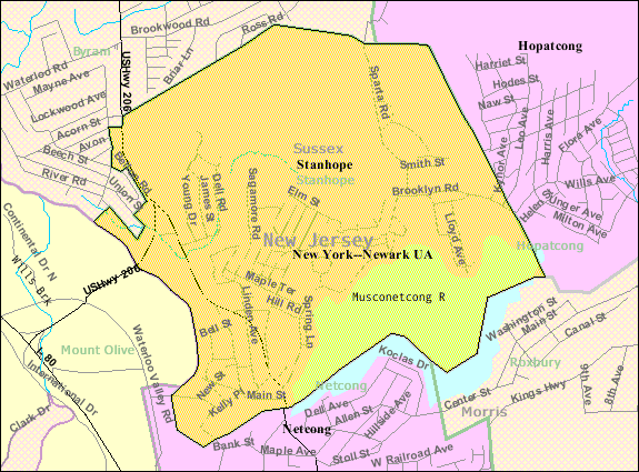 Census Bureau map of Stanhope, New Jersey