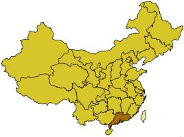Localización de la provincia de Guangdong.