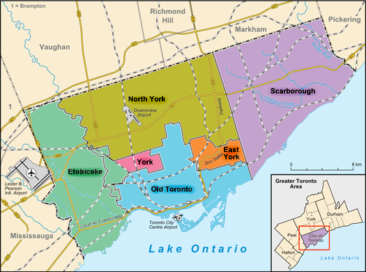 Cities and boroughs amalgated in 1998 to form the present day City of Toronto