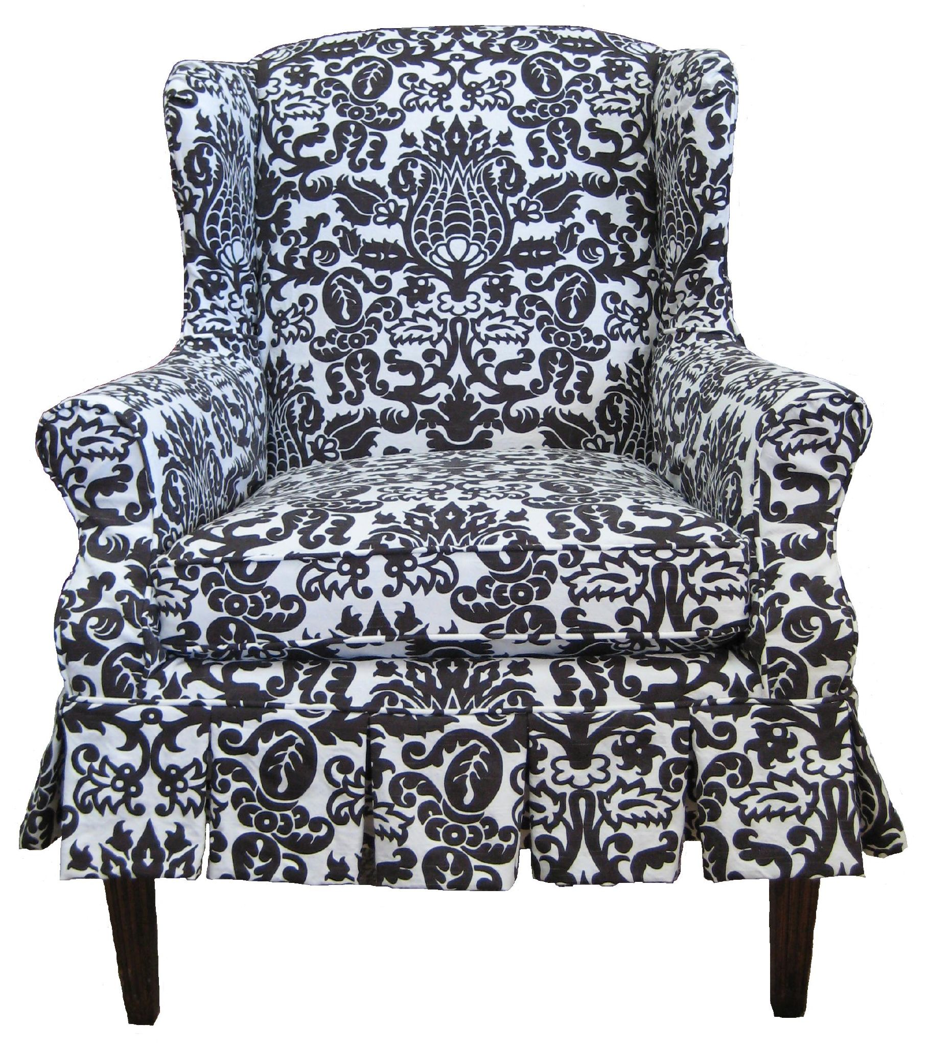 File Damask slipcovered wing chair Wikimedia