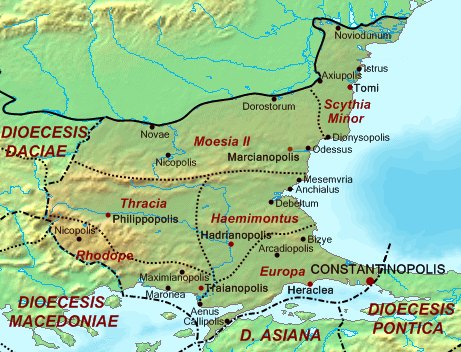 Map of the Diocese of Thrace, the theatre of operations during Vitalian's rebellion. Dioecesis Thraciae 400 AD.png