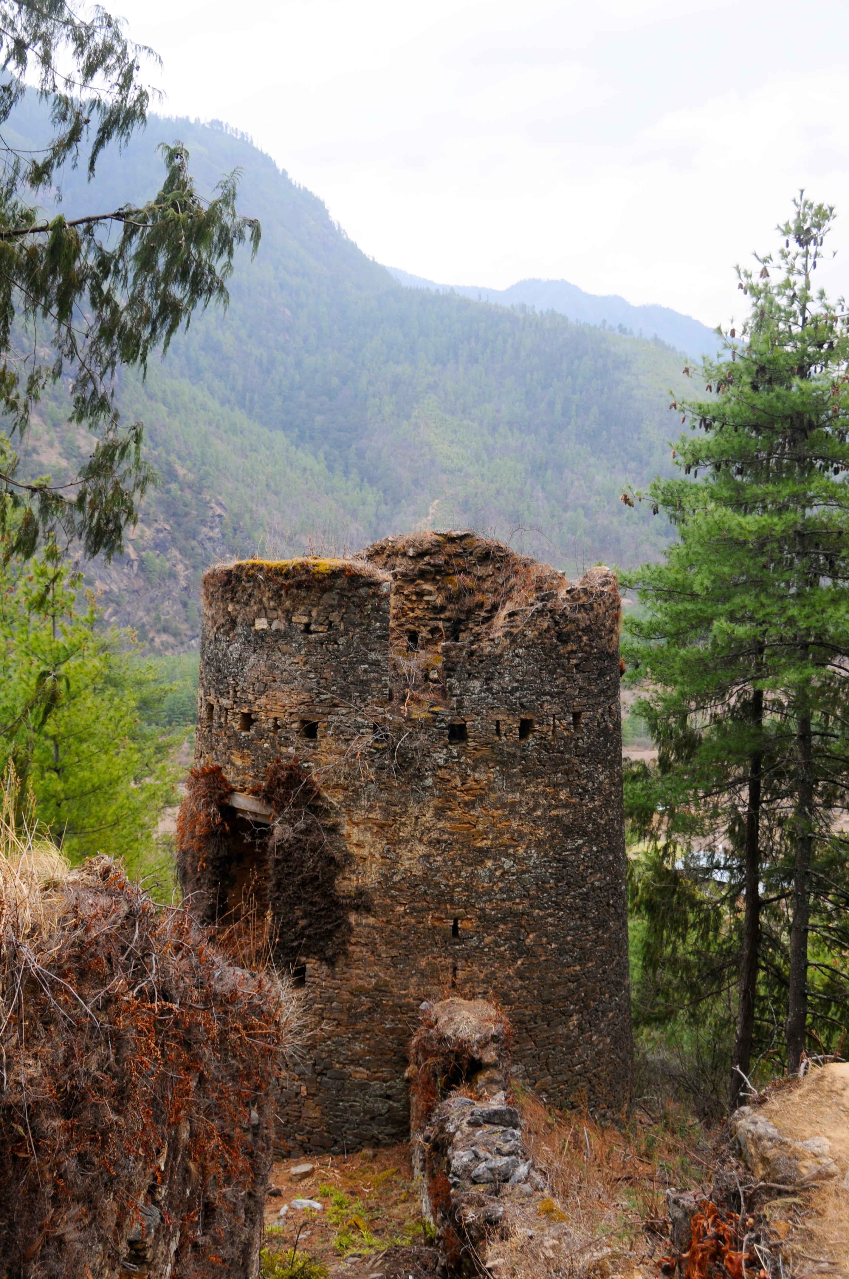 Filedrukgyel Dzong Ruined Fortress Guarding The Paro Valley