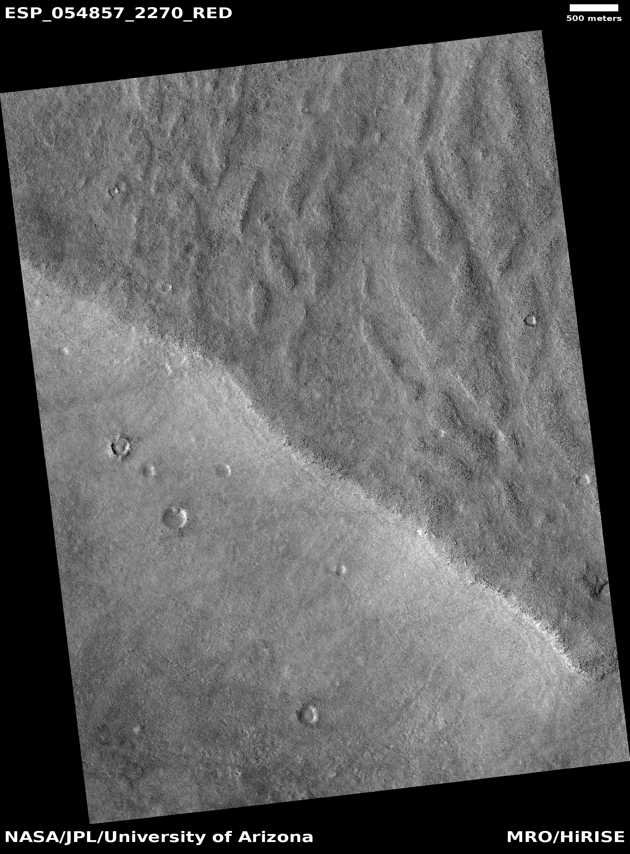 Channels that may have been made by the backwash of tsunamis in an ocean Image is from HiRISE under the HiWish program
