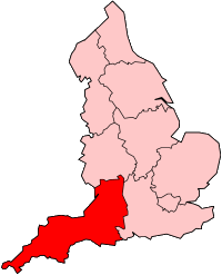 Supporters of English status consider Cornwall part of South West England (in red). This region is used for some governmental purposes.