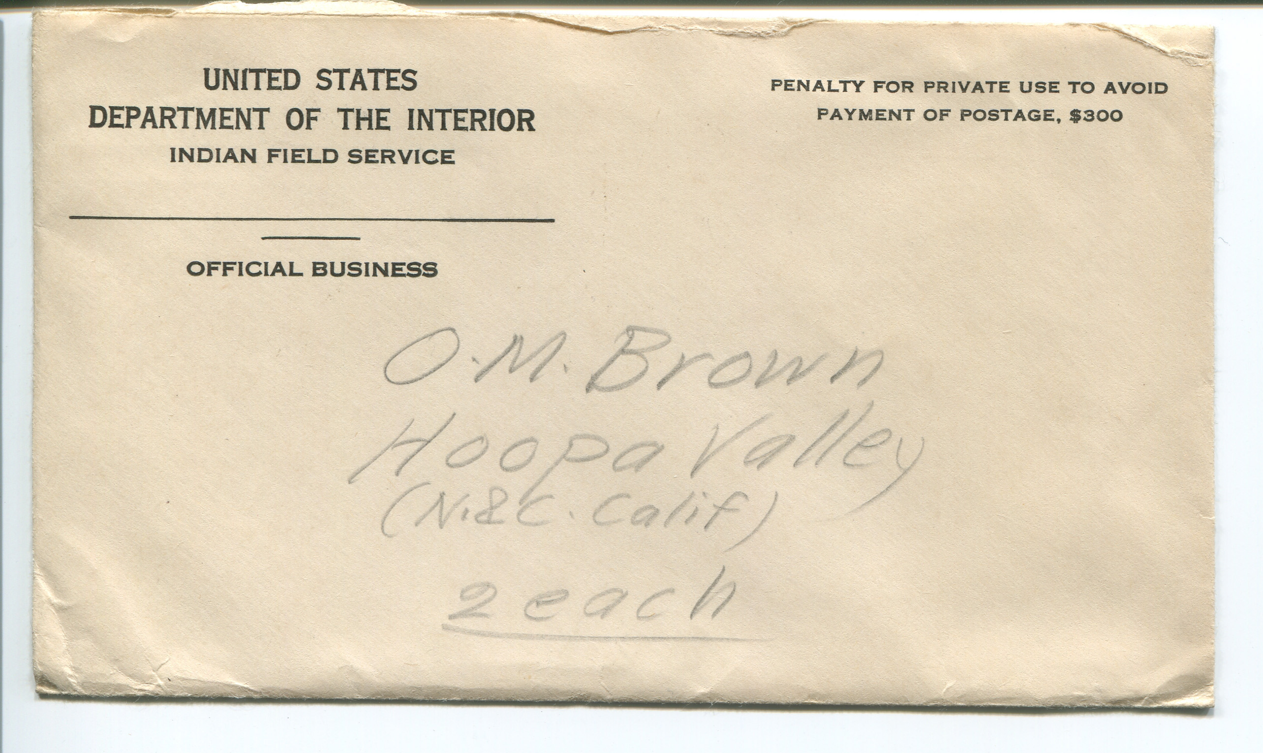 file envelope from united states department of the interior indian field service to o m brown. Black Bedroom Furniture Sets. Home Design Ideas