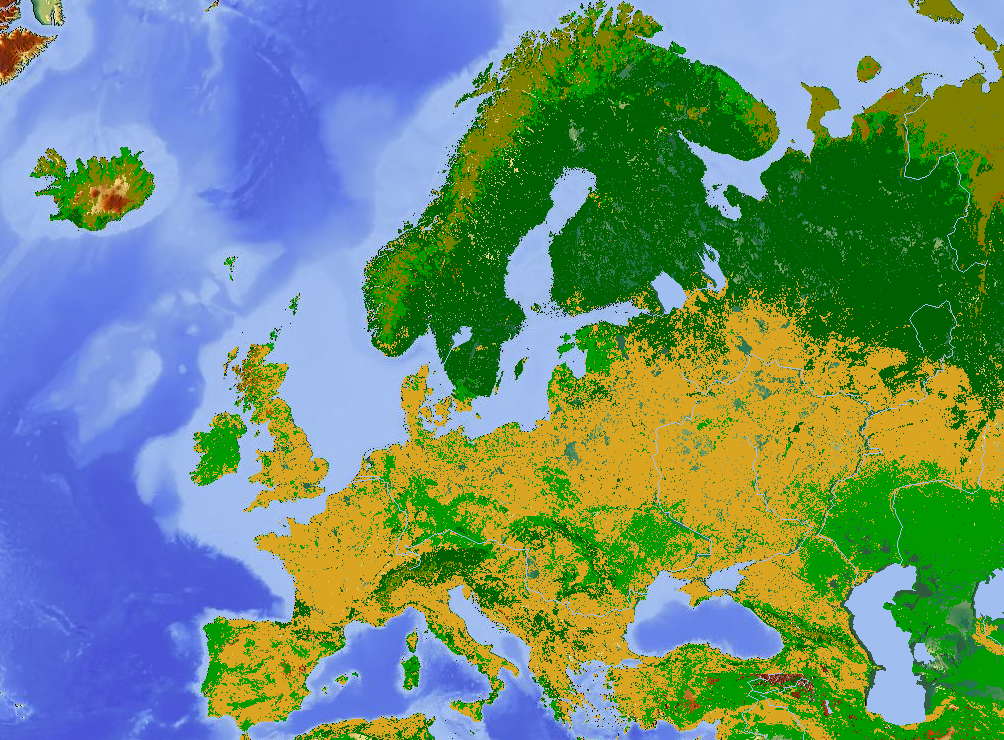 A Land Use Map Of Europe Major Non Natural Land Uses Include Arable Farmland Yellow And Pasture Light Green