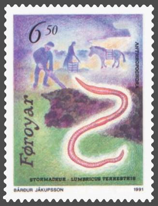 File:Faroe stamp 208 anthropochora - earthworm (Lumbricus terrestris).jpg