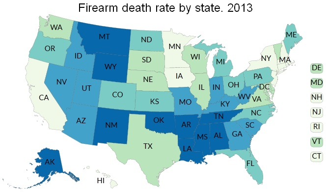 Firearm Death Rates In The United States By State Wikipedia - Map of united states states