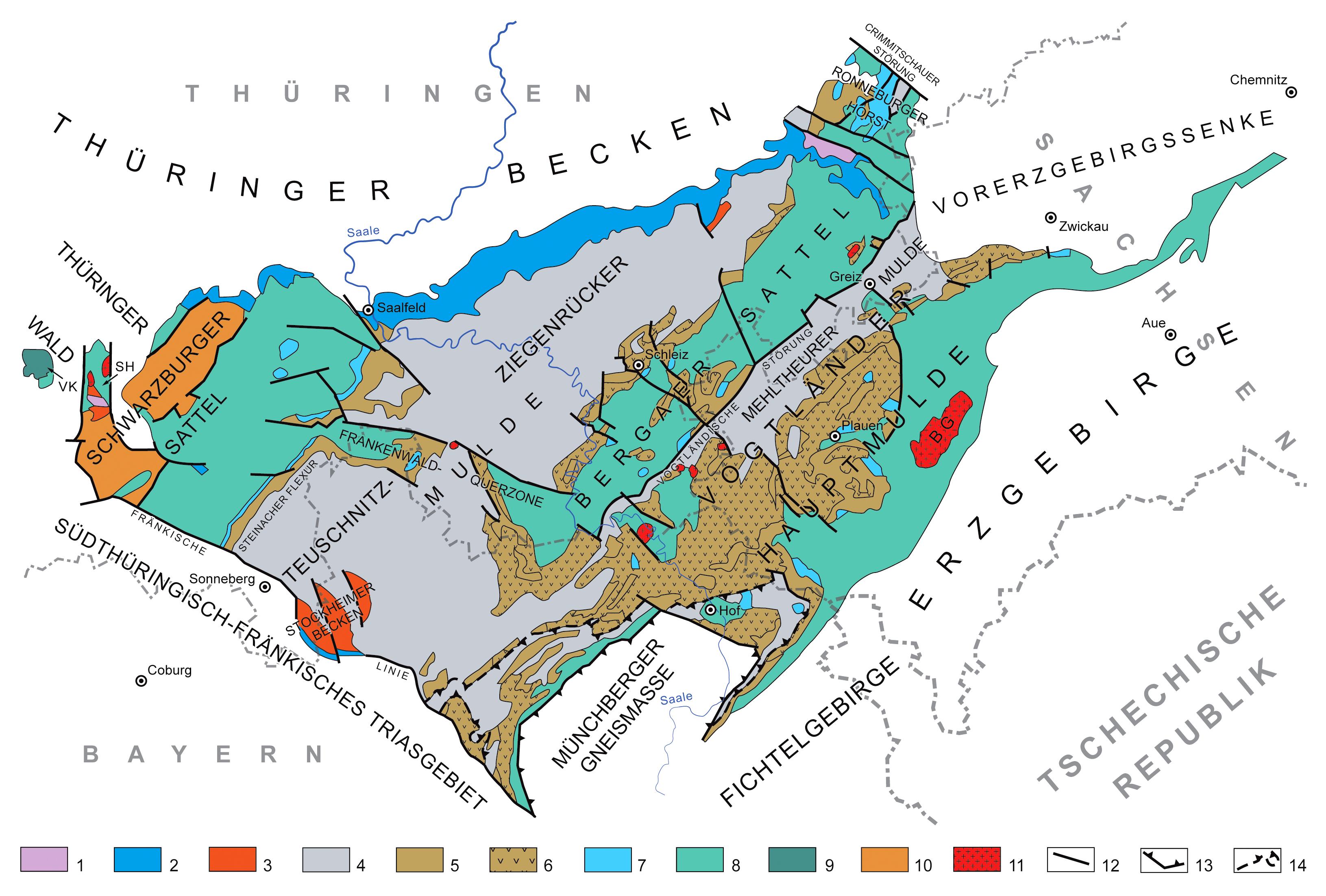 Geologische Karte Thüringen.Thüringisch Fränkisch Vogtländisches Schiefergebirge Wikipedia