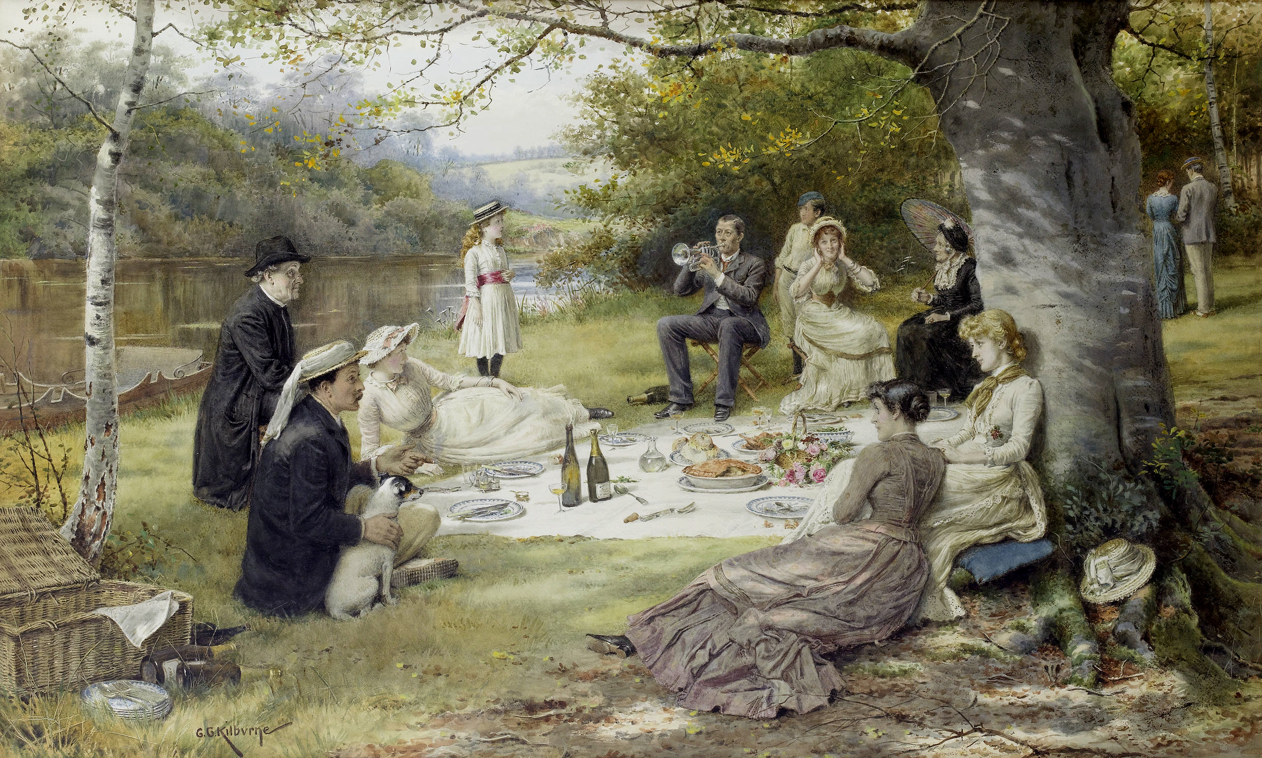The Picnic. Signed G.G.Kilburne. Watercolour heightened with touches of white, 66.5 x 110 cm