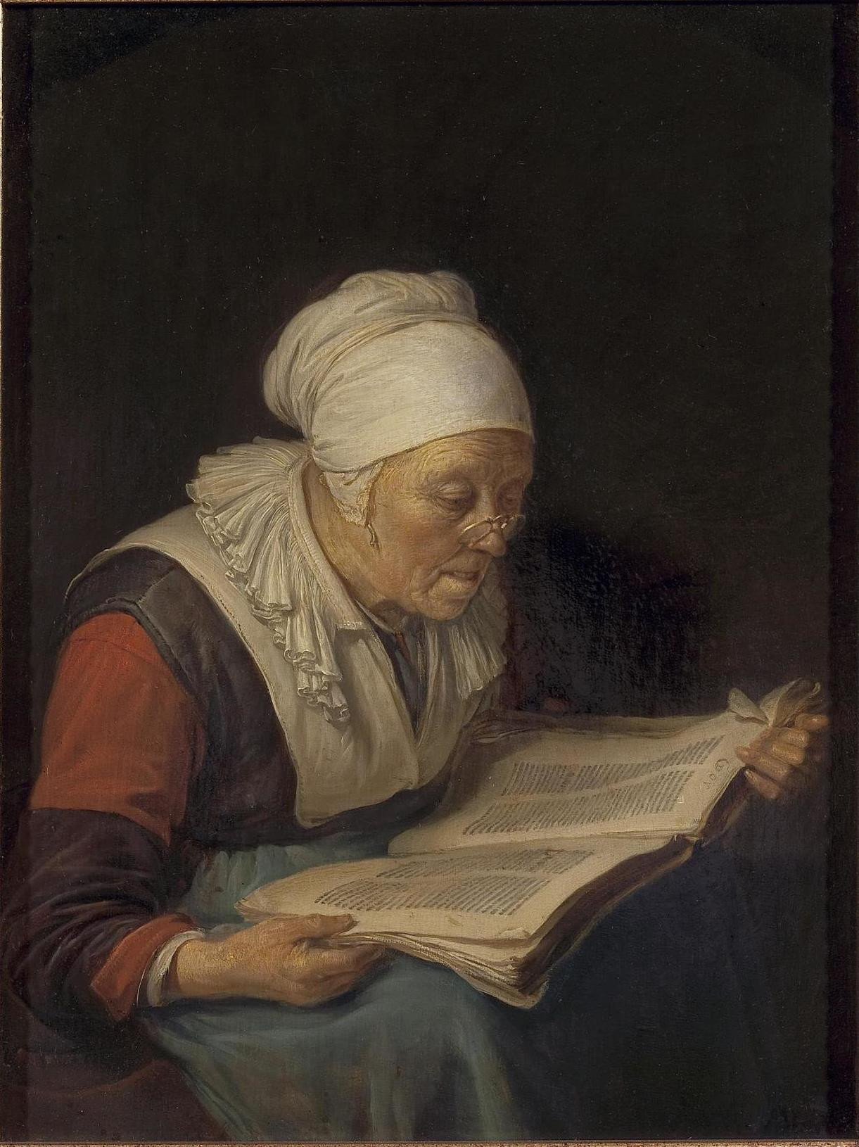 file gerard dou old woman reading a book jpg wikimedia commons