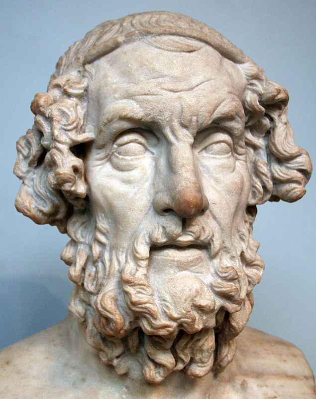 Roman bust of Homer from the second century AD, portrayed with traditional [[iconography